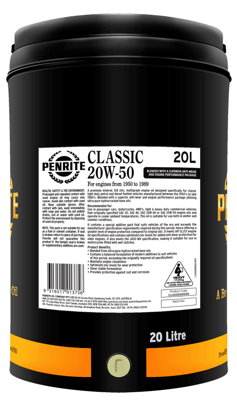 Penrite Oil - CLASSIC 20W-50 - 20L