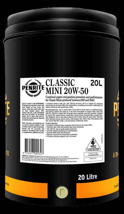 Penrite Oil - CLASSIC MINI 20W-50 (Mineral)  - 20L