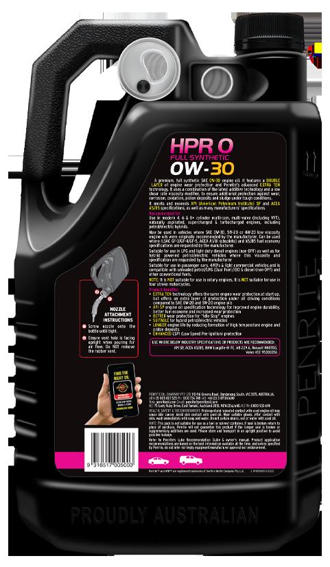 Penrite Oil - HPR 0 0W-30 (Full Synthetic) - 5L