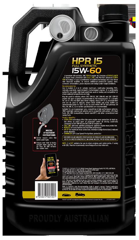 Penrite Oil - HPR 15 15W-60 (Full Synthetic) - 5L