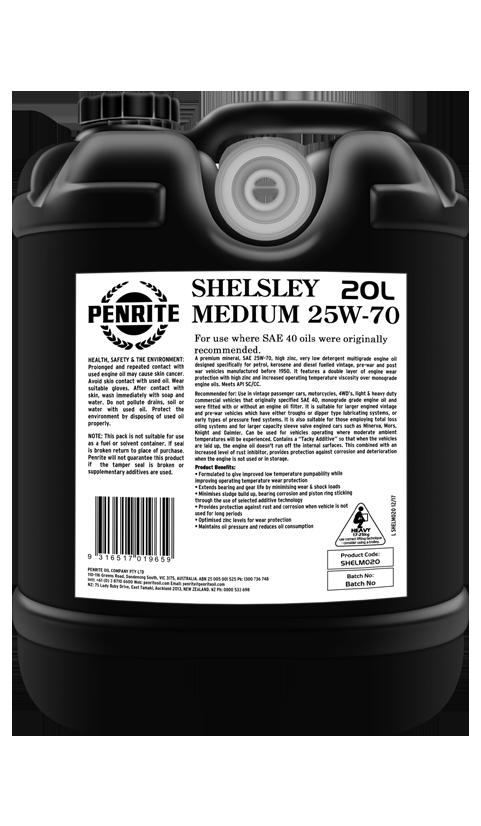 Penrite Oil - SHELSLEY MEDIUM 25W-70 (Mineral) - 20L